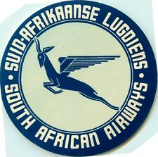 Suid-Afrikaanse Lugdiens ~SOUTH AFRICAN AIRWAYS~ Great Old Airline Luggage Label