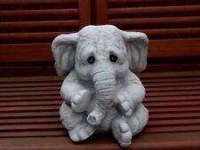 Steinfigur Elefanten Elefant grau patiniert
