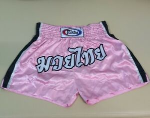 SHORTS FAIRTEX MUAY THAI BOXING MMA PINK GENUINE 2XL XXL SATIN WOMEN LADY ADULT