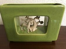 Howard Pierce PLANTER / HORSES TREES Chartreuse green Vintage CA Pottery MCM