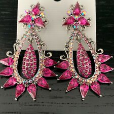 Luxury Statement Crystal Fuchsia Dangle Drop Evening Prom Party Bridal Earrings