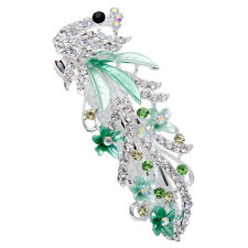 Green Crystal Rhinestone Peacock Barrette Hairpin Hair Clip Gift Multi-colors