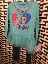 New With Tags Girls Shimmer And Shine 2pc Outfit Leggings Top Teal Tutu Size 3T