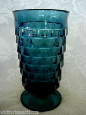 Vintage Dark Blue Cube/Cubist/American Pattern Footed Tumbler/Water Goblet