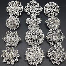 12p/lot Mixed Mini Silver Rhinestone Crystal Brooches Pins DIY Wedding Bouquet