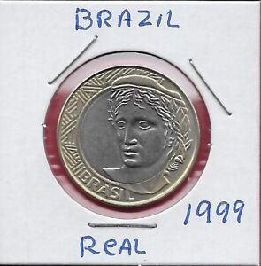 BRAZIL 1 REAL 1999 UNC ALLEGORICAL PORTRAIT LEFT,DENOMINATION ON LINEAR DESIGN A