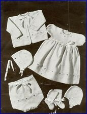 Vintage Baby Knitting Pattern LACY 6 piece Layette Diamond design in 3 Ply