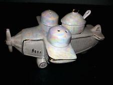 Vintage 1981 Airplane Salt Pepper Condiment Set Aviator Sarsaparilla Deco Design