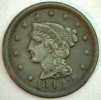 1848 Braided Hair US One Cent Penny Coin 1c Copper Coin VF Very Fine Large Cent