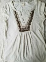 Anthropologie Meadow Rue Beaded Sequin Beige Tank Top Blouse Womens Size Small