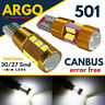 T10 Car Bulbs Led Error Free Canbus 30 27 Smd Xenon White W5w 501 Side Light 12v