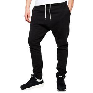 Mens Drop Crotch Slim Fit Joggers Cuffed Jogging Bottom Gym Pocket Trouser S-5XL