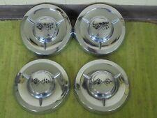 "1958 Chevrolet Dog Dish Hub Caps Set of 4 Chevy 10 1/2"" Hubcaps Big Brake 58"