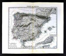 1880 Stieler Map - Spain Portugal Gibraltar Madrid Lisbon Ibiza Toledo Barcelona