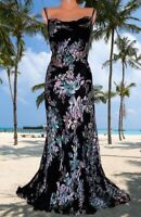 MONSOON**  STUNNING RARE ACUPULCO BLACK DEVORE SILK BEADED MAXI  DRESS  UK 20 18