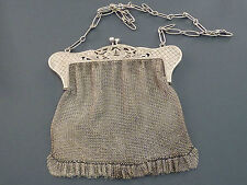 QUALITY CONTINENTAL 800 GRADE SILVER CHAIN EVENING BAG