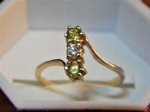 14KT GOLD, RUSSIAN DEMANTOID GARNET & DIAMOND LADIES RING..NOT SCRAP!