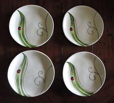 "Ladybug Pier 1 Imports Salad Luncheon Dessert Plates Set of 4 Ladybug Leaf 8.5"""
