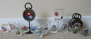 13 SWISS SHOT GLASSES & LETTER RACK. ASCONA HAND PAINTED. RARE & COLLECTABLE