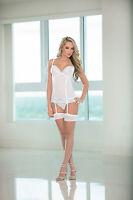 bridal wedding bustier white lingerie & hosiery set by escante size 10-12 L UK