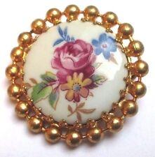 broche bijou vintage couleur or cabochon porcelaine fleur émail fait main 3328