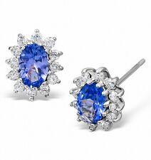 Tanzanite and Diamond Earrings AAA Grade White Gold Stud Appraisal Certificate