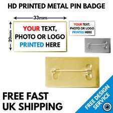 More details for rectangular custom badges • high resolution lapel pin • 33 x 20mm badge metal