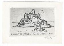 RUDOLF KOCH: Neujharsgraphik P. F. für Hans und Liesel Laut, Insel mit Segelboot