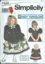 "S 9426 sewing pattern Daisy Kingdom DRESS & 18"" Doll CLOTHES sew Darling 3,4,5,6"