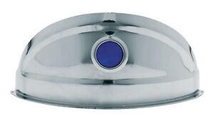 "Chrome Headlight Visor with Blue Dot Pair lowrider custom sled pickup 7"" round"
