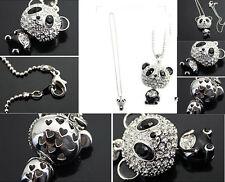New Full Silver Glitter Rhinestone Panda Bear Sweater Chain Necklace Pendant