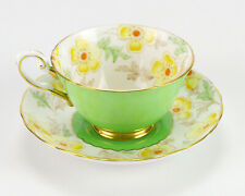 Plant Tuscan Yellow Poppy & Green Cup and Saucer Set, Vintage Bone China England