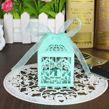 10 Blue Bird Shaped Laser Cut Candy Gift Boxes With Ribbon Wedding Party Favor