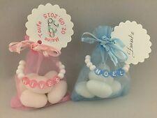Gastgeschenke Baby Geburt Taufe Organzasäckchen Namenskette rosa blau Mandeln
