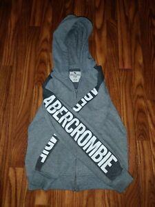 Abercrombie Kids Boys Grey & White Full Zip Up Hoodie Size 11/12
