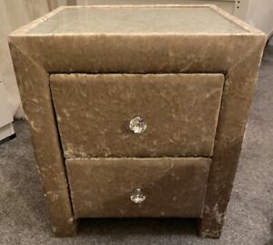 Gold Crushed Velvet Bedside Table Cabinet 2 Drawers Crystal Knobs