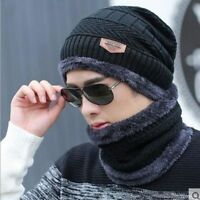 Knit Winter Cap And Neck Warmer Scarf Set Thermal Baggy Beanie Unisex Outwear