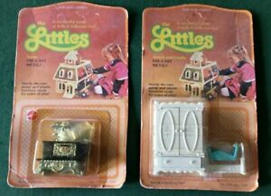 The LITTLES Lot NEW Stove Pot Armoir Cradle Die Cast Metal Doll House Furniture