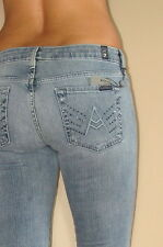 $215 Seven 7 For All Mankind Crystal A-Pocket Flare Jeans Vintage Distress 25-31