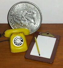 Dollhouse Miniature 3pc office set Yellow telephone, clip board w/ pencil