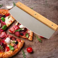 Pizza Cutter Whole Slicer Long Cake Large Knife Stainless Steel Wood Easy Tool