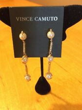 $38  VINCE CAMUTO pearl & pave linear  EARRINGS VJ6