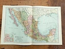 1890 large double page map - g.w. bacon the strand london . mexico ! 41