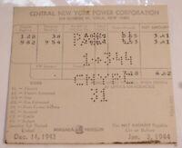 Vintage Central New York Power Company Invoice Bill January 3 1944 Utika