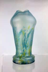 Rare c1900 Antique Poschinger Vase Art Nouveau Glass German 26cm Iridescent
