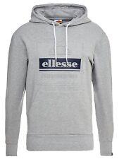 ellesse Mens Overhead Velino Logo Hooded Sweatshirt Top Grey Hoodie