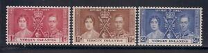 Virgin I.   1937   Sc # 73-75   Coronation   MLH   (5045-)