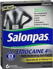 SALONPAS LIDOCAINE 4% Max Strength Gel Patch 6 ct (1 box ) PHARMACY FRESH!
