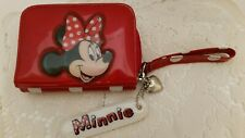 New listing Disney Minnie Mouse Red Polka Dot Vinyl TriFold Wallet Wrist strap Heart Charm