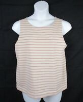 Loft Ann Taylor Womens Pink Striped Tank Shirt Top Blouse Back Zipper Size XL